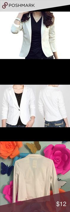 Blazer / White White, Ladies Blazer, one button, this is an Asian size XXL, regularly size L in the US, 95% Polyester 5% Spandex Jackets & Coats Blazers