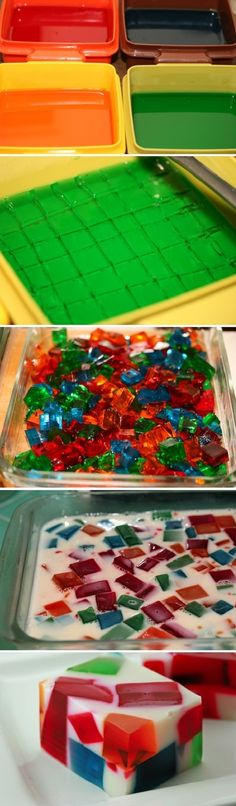 Broken Glass Jello Recipe. Only I would use fruit juice and unflavoured gelatin to make better flavours!