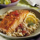 Balsamic Glazed Salmon recipe from Campbell's Kitchen. Tender baked salmon topped with a sauce featuring Swanson Chicken Broth, balsamic vinegar, orange juice and brown sugar.  Yummo!!!
