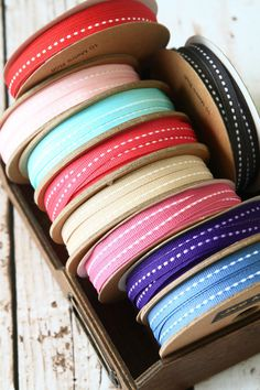 shabby chic Jane Means SKINNY Stitched Thin Grossgrain Craft Gift Wrap RIBBONS