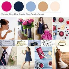 Fuchsia, navy, powder blue, caramel, and ivory color palette.  I don't like pink that much but paired with the blues it looks great!