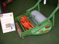 """""""12th Qual Cast Panther Derby 1955"""" model owned from new by Jean Alexander, Hilda Ogden from TV soap 'Coronation Street' kindly donated with good wishes to the British Lawnmower Museum."""