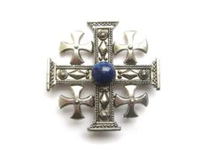 #Jerusalem #Cross #MalteseCross Embellished #Crusader #Crucifix #FiveFold #Heraldic #Christian #Deism #Brooch Midnight Starry Sky #Blue #Pendant #Steampunk #Goth