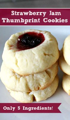Five Ingredient Strawberry Jam Thumbprint Cookies #Snackation #ad