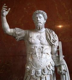 Ancient Roman sculpture of Marcus Aurelius, 161-180 AD, currently located at the Louvre, France.