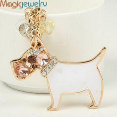 Creative Rhinestone Enamel Dog Keychain Keyring Fashion Crystal Tassel Pet Key Chain