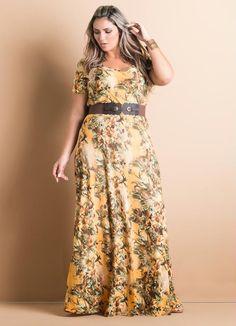 Vestido Longo Decote em V Floral Plus Size - Posthaus