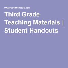 Third Grade Teaching Materials | Student Handouts