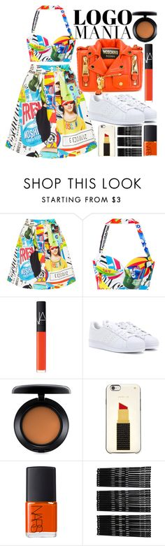 """Logomania!"" by fattie-zara ❤ liked on Polyvore featuring Moschino, NARS Cosmetics, adidas, MAC Cosmetics, Kate Spade, Monki and logomania"