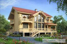 Проект трехэтажного дома из клееного бруса - M117Z