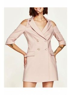 New Trendy Notched Lapel Collar Cold Shoulder Half Sleeve Double Breasted Plain Mini Blazer Dress Blazers For Women, Suits For Women, Jackets For Women, Clothes For Women, Half Sleeve Dresses, Half Sleeves, Fashion 2017, Fashion Dresses, European Casual
