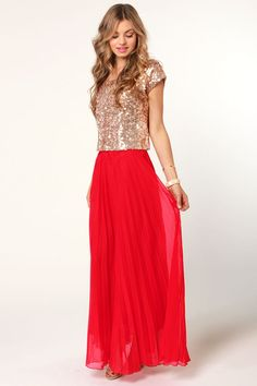 Red Skirt and Gold Sequin Dress, so cute! :: Sparkly cropped top and Red Maxi Skirt :: Stand Out!