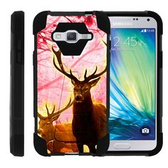 Samsung Galaxy J3 Black Case, Amp Prime Shell Case, Express Prime Case [SHOCK FUSION] 3 in 1 Combo Kickstand Case + Screen Protector Film + Stylus Pen by Miniturtle® - Pink Deer Stag