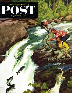 Salmon Running Upstream by Mead Schaeffer, May 17, 1952, The Saturday Evening Post.
