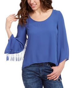 Look what I found on #zulily! Blue Lace-Accent Cape-Sleeve Top by Design 26 #zulilyfinds