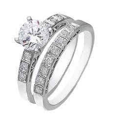 Diamond Wedding Ring Set, .21 Carat Diamonds on 14K White Gold