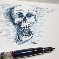 Inktober Day 20 #skull #inktober #inktober2015 #inktoberday20 #ink #drawing #fpgeeks #noodlers #konrad #diamine #fabriano