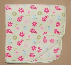 Small Wonders Green Pink Ladybug Flower Blue Bird Baby Blanket Fluffy Infant #SmallWonders