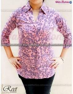 Take your summer look a notch higher with this Pink Printed Cotton Shirts from Reet Glamour. The interesting print of this shirt make it visually appealing. Ensuring good comfort and smoothness is the 100 % cotton fabric of this shirt. You can team this shirt with a pair of pants and wedges to look.  For more details whatsapp us: +919915178418