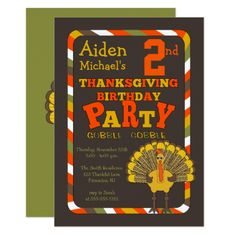 Thanksgiving Turkey 2nd Birthday Party Card