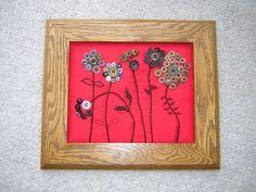 A Vintage Button Flower Garden, Hand Embroidery, Primitive Style. $28.00, via Etsy.