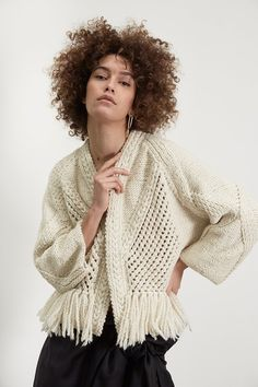 """Knitting IRRITATION CARDIGAN is a hand knitted piece made of Wear yours with sleek high wasted trousers for a """"chic"""" outbound. Black Crochet Dress, Crochet Cardigan, Knit Crochet, Wool Cardigan, Knit Cardigan Pattern, Jumpsuit Pattern, Knitting Blogs, Knitting Designs, Hand Knitting"""