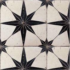 vintage black and white ceramic tile