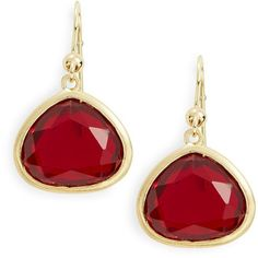 Karen Kane Faceted Stone Drop Earrings ($32) ❤ liked on Polyvore featuring jewelry, earrings, red, karen kane, fish hook earrings, fish hook jewelry, drop earrings и red jewelry