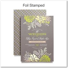 Winsome Blooms - Signature Foil Wedding Invitations - Stacey Day - Mustard - Yellow : Front