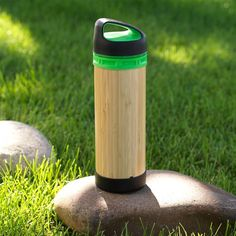 Bamboo All Purpose Eco Bottle - Why is this water bottle better than the rest? It works for both hot and cold beverages, and the outside is made from hand-harvested renewable bamboo, which also adds a unique look. The protected glass interior is made from recycled glass, and the screw top is made from food-grade, BPA-free plastics. I have 3-4 different types of bottles taking up space in my storage bin and this would alone would easily take their place. | gaiam.com | #greendorm
