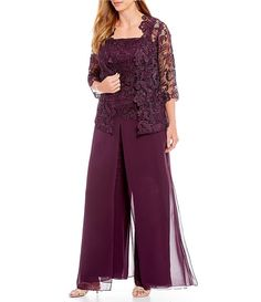 R & M Richards Plus Scallop Glitter Lace Duster 3 Piece Pant Set Mami Mother Of The Bride Trouser Suits, Mother Of Bride Outfits, Mother Of Groom Dresses, Plus Size Dresses, Plus Size Outfits, Gowns Of Elegance, Marie, Party Dress, Fashion Outfits