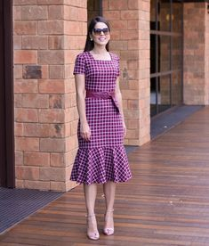 Lovely pink dress with plaid print African Print Fashion, African Fashion Dresses, African Dress, Simple Dresses, Casual Dresses, Short Dresses, Modest Fashion, Fashion Outfits, Batik Dress