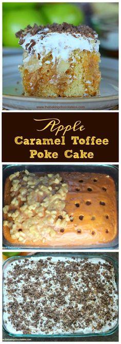 Apple Pie poke cake - This looks like such a fun fall treat! Apple Dessert Recipes, Poke Cake Recipes, Delicious Cake Recipes, Best Cake Recipes, Apple Recipes, Yummy Cakes, Easy Desserts, Fall Recipes, Favorite Recipes