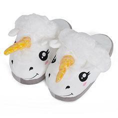 Einhorn Damen Plüsch Pantoffeln weiß mit Glitzer Horn Unicorn Slippers für Erwachsene - http://on-line-kaufen.de/close-up/einhorn-damen-pluesch-pantoffeln-weiss-mit-horn-2