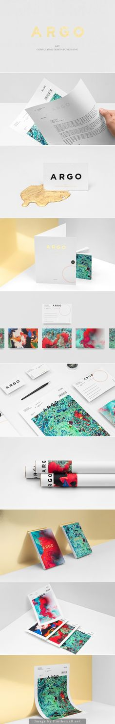 ARGO branding by Anagrama. Paint and colorful branding design from the business card to the other marketing materials.