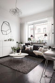 55 Modern Apartment Interior Design With Stylish Furniture Design Living Room, Living Room Grey, Living Room Decor, Dark Floor Living Room, Couch Design, Contemporary Interior Design, Best Interior Design, Stylish Interior, Diy Interior