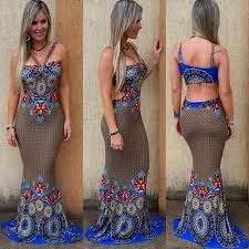 Resultado de imagem para vestido longo tipo sereia estampado