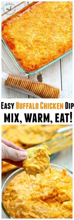 Easy Buffalo Chicken Dip: Make in under 30 with this awesome recipe tip! Best Dip Recipe EVER!