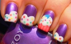 Cute Nail Designs For Short Nails cup cake