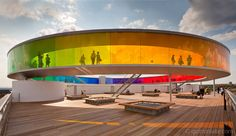 Your Rainbow Panorama, a Rainbow-coloured glass walkway on the roof of the Danish art museum ARoS Aarhus Kuntsmuseum, by Danish-Icelandic artist Olafur Eliasson. Opened 28 May, 2011.