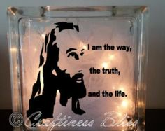 """I Am The Way, The Truth, And The Life Jesus Christ Bible Quote night light decoration home decor Custom 7.75"""" x 7.75""""  Lighted Glass Block"""