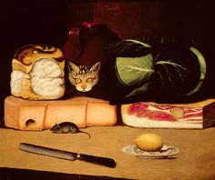 Still Life with Cat and Mouse, Primitive School, 1820 by Anonymous