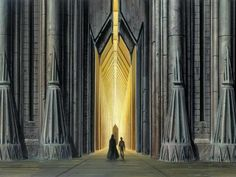 "ROTJ: This image is from ""The Art of Ralph McQuarrie"". Here we see Vader and Luke walking through the gateway that leads to the Emperor's throne room in the Imperial Palace on Coruscant. Back in 1983, it just wasn't possible to create these fantastic shots using CGI, so the amazing journey to see the Emperor was eventually cut from the script due to budget constraints."