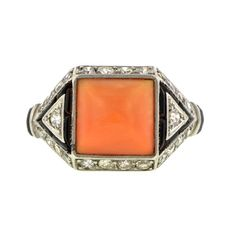 Super cool geometric Art Deco coral, onyx and diamond ring. Circa 1930, from Doyle & Doyle