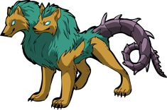 Orthrus - two-headed dog with spiky tail - Greek Mythology; It was believed to guard Geryon's cattle and it was killed by Herakles in the process of stealing those cattle. As an offspring of Typhon and Echidna it is a brother of both Cerberus and the Hydra.