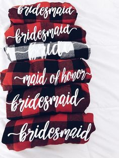 Bridesmaid flannels available in multiple colors. Bulk ordering 10 or more message me for special pricing.  Once you place your order for the sizes you need, please message me the color number on the last flannel pics, and the text you want on the shirt. We want to personally work with you on your order.  If you have q
