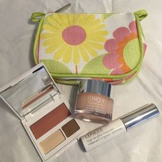 NEW!! Clinique 4 pc makeup bundle! NEW!! Clinique makeup bundle! Includes: moisture surge, high lengths mascara, eye shadow duo w/blush and small makeup bag! Clinique Makeup