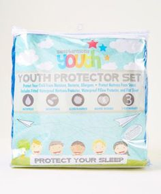 Protect Your Child From Moisture, Bacteria, Allergens and Protect Mattress From Stains. ALL IN ONE - No need to purchase separate sheets and mattress pad. Includes a blue waterproof pillow protector,
