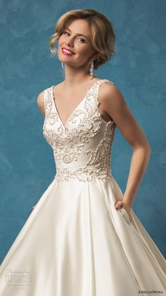 amelia sposa 2017 bridal sleeveless v neck heavily embellished bodice classic silk a  line wedding dress with pockets sheer lace back cathedral train (noemi) zv