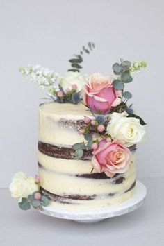 Naked Rose Victoria Sponge, love the idea of a naked cake Gorgeous Cakes, Pretty Cakes, Cute Cakes, Amazing Cakes, Nake Cake, Bolos Naked Cake, Novelty Birthday Cakes, Cake Birthday, Rustic Birthday Cake